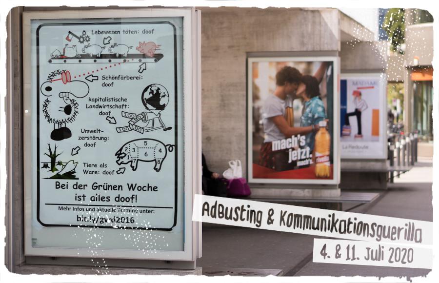Flyer für den AdBusting-Workshop im Juli